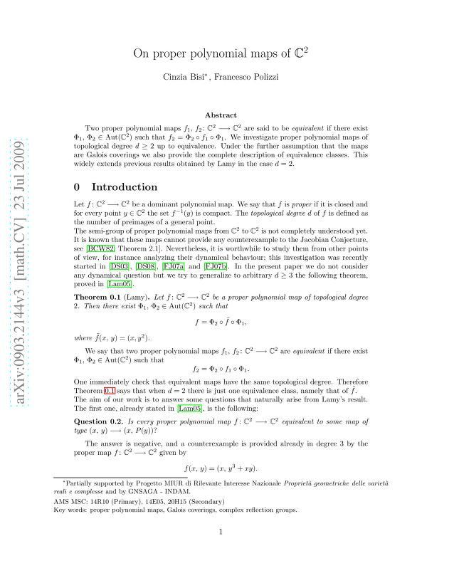 Cinzia Bisi - On Proper Polynomial Maps of $\mathbb{C}^2.$