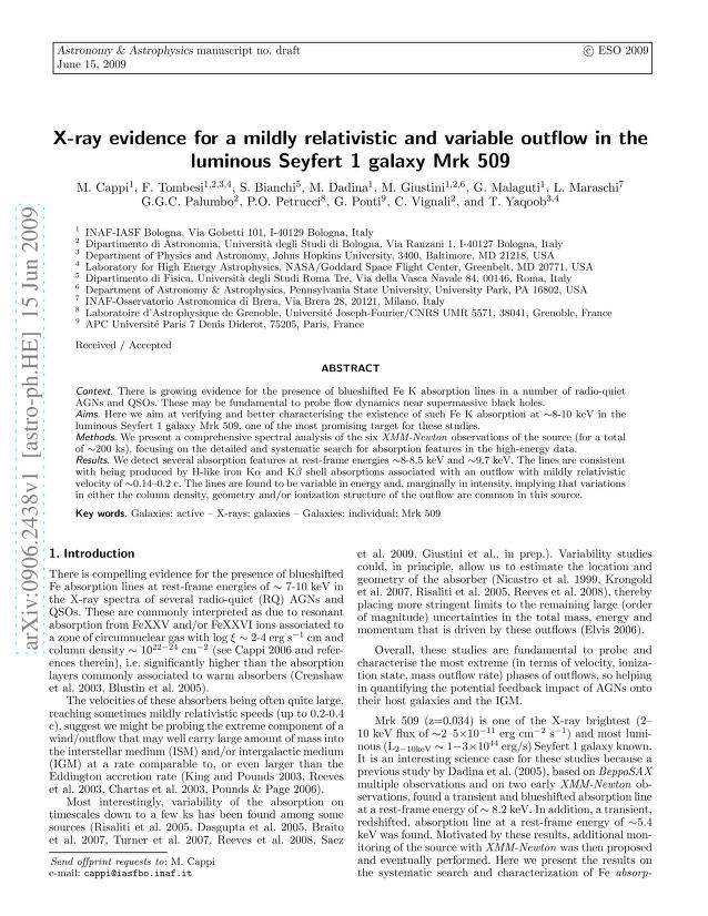 M. Cappi - X-ray evidence for a mildly relativistic and variable outflow in the luminous Seyfert 1 galaxy Mrk509