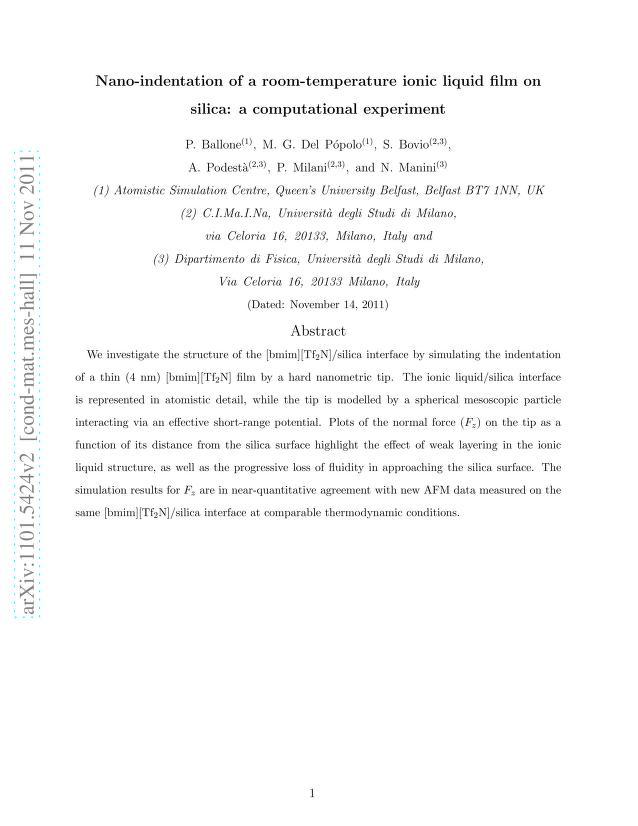 P. Ballone - Nano-indentation of a room-temperature ionic liquid film on silica: a computational experiment