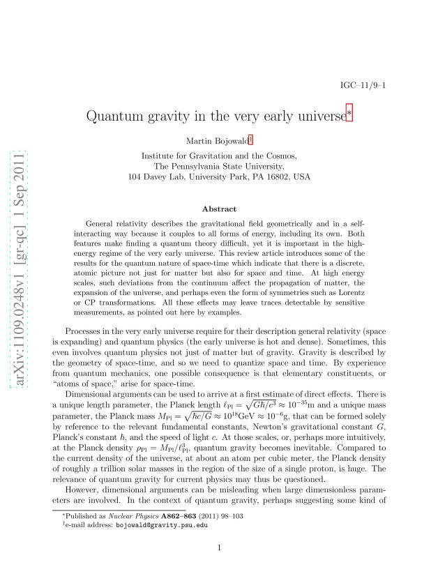 Martin Bojowald - Quantum gravity in the very early universe