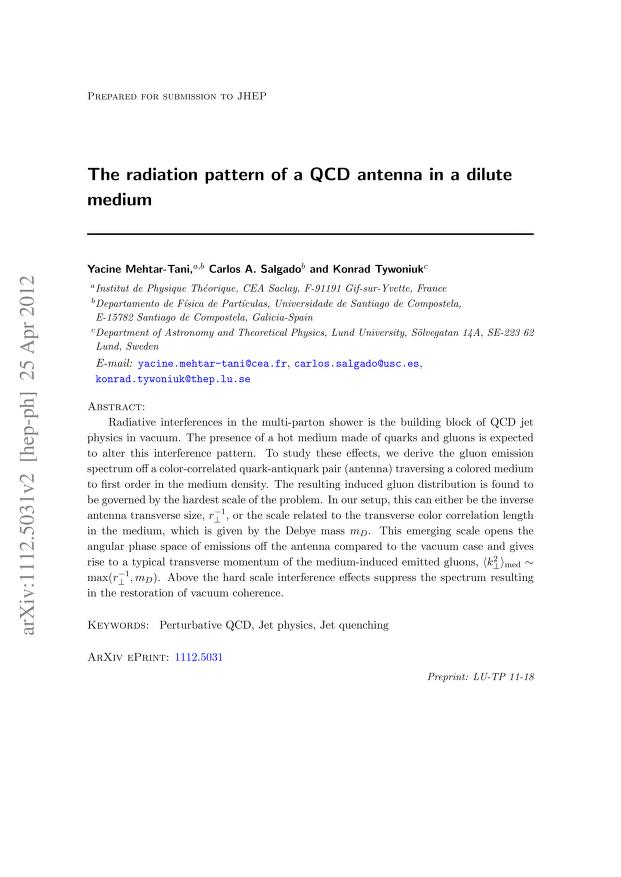 Yacine Mehtar-Tani - The radiation pattern of a QCD antenna in a dilute medium