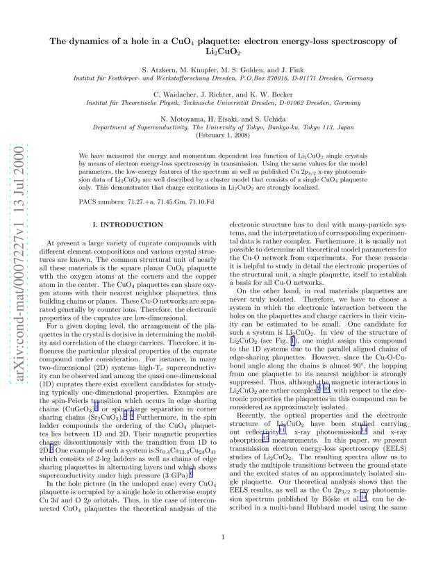 S. Atzkern - The dynamics of a hole in a CuO_4 plaquette: electron energy-loss spectroscopy of Li_2CuO_2