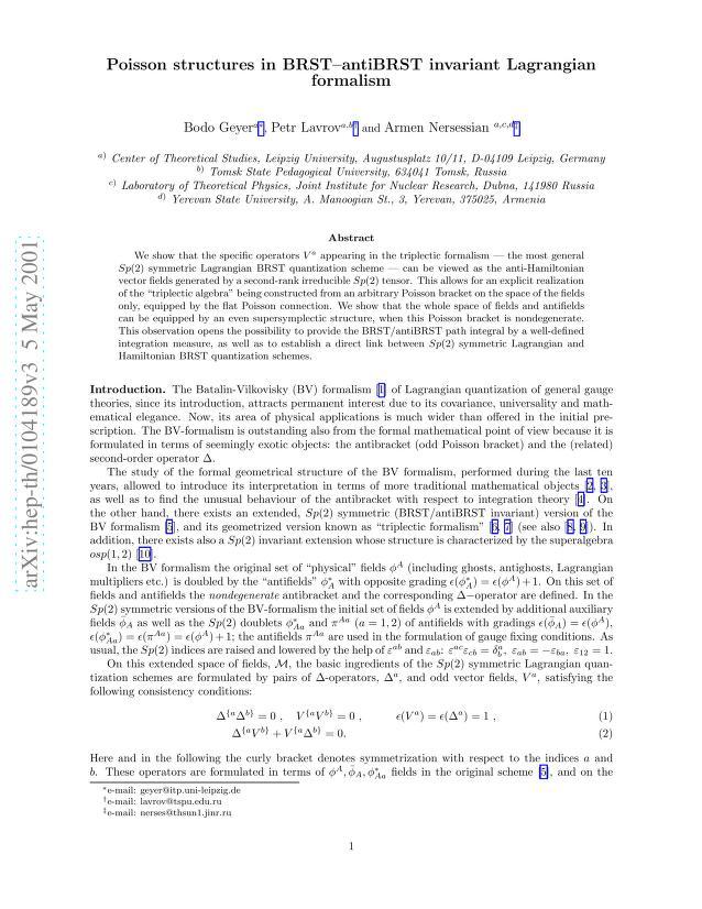 Bodo Geyer - Poisson structures in BRST-antiBRST invariant Lagrangian formalism