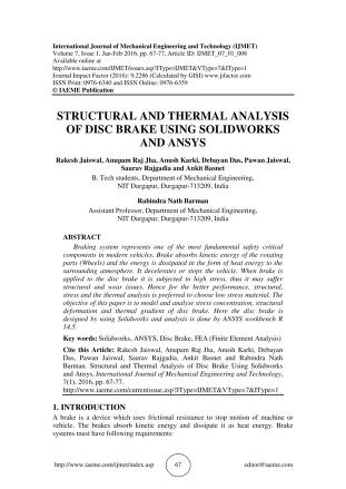 STRUCTURAL AND THERMAL ANALYSIS OF DISC BRAKE USING SOLIDWORKS AND ...