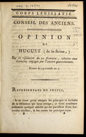 Cover of: Opinion de Huguet (de la Seine) sur la re solution du 22 frimaire, relative aux domaines engage s par l'ancien gouvernement | The odore-Franc ʹois Huguet