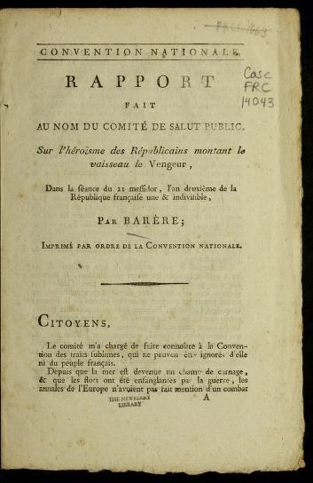 Cover of: Rapport fait au nom du Comite  de salut public, sur l'he roi sme des re publicains montant le vaisseau le Vengeur | B. Bare  re